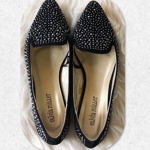 Olivia Miller Studded Black Velvet Flats